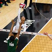 18 November 2017:  The San Diego State women's volleyball team closes out it's season against #24 Colorado State University. San Diego State outside hitter Ashlynn Dunbar (6) spikes the ball past a CSU defender in the first set. The Aztecs fell to the Rams in three sets. <br /> www.sdsuaztecphotos.com
