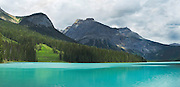 Panoramic view of Emerald Lake from near the bridge; Yoho National Park, near Golden, British Columbia, Canada.