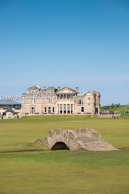 View of Clubhouse and Swilken Burn Bridge on fairway of 18th hole at Old Course in St Andrews in Fife , Scotland, United Kingdom