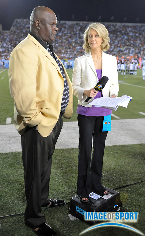 Aug 8, 2010; Canton, OH, USA; NBC Sports sideline reporter Andrea Kremer (right) interviews Rickey Jackson during the preseason game between the Dallas Cowboys and the Cincinnati Bengals at Fawcett Stadium. Photo by Image of Sport