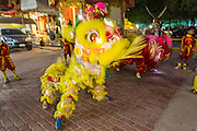 "14 MARCH 2014 - NAKHON CHAI SI, NAKHON PATHOM, THAILAND: Lion dancers perform at the opening of the tattoo festival at Wat Bang Phra. Wat Bang Phra is the best known ""Sak Yant"" tattoo temple in Thailand. It's located in Nakhon Pathom province, about 40 miles from Bangkok. The tattoos are given with hollow stainless steel needles and are thought to possess magical powers of protection. The tattoos, which are given by Buddhist monks, are popular with soldiers, policeman and gangsters, people who generally live in harm's way. The tattoo must be activated to remain powerful and the annual Wai Khru Ceremony (tattoo festival) at the temple draws thousands of devotees who come to the temple to activate or renew the tattoos. People go into trance like states and then assume the personality of their tattoo, so people with tiger tattoos assume the personality of a tiger, people with monkey tattoos take on the personality of a monkey and so on. In recent years the tattoo festival has become popular with tourists who make the trip to Nakorn Pathom province to see a side of ""exotic"" Thailand.   PHOTO BY JACK KURTZ"