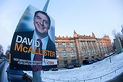 The half-Scottish Prime Minister David McAllister of Lower Saxony, invited The Scottish Sun's Graeme Donohoe to attend today's cabinet meeting. Pic of one of his election posters opposite the Lower Saxony State Chancellery..©Michael Schofield.