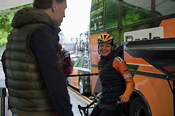 Chantal Blaak can still manage a laugh despite the conditions before Stage 4 of the OVO Energy Women's Tour - a 123 km road race, starting and finishing in Chesterfield on June 10, 2017, in Derbyshire, United Kingdom. (Photo by Sean Robinson/Velofocus.com)