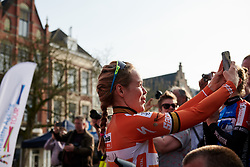 Fourth place in the GC, Anna van der Breggen (NED) gets in on celebrations with selfie with her teammates on the podium at Healthy Ageing Tour 2018 - Stage 5, a 94.3 km road race in Groningen on April 8, 2018. Photo by Sean Robinson/Velofocus.com