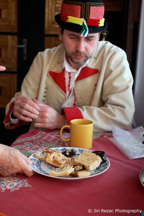 CZECH REPUBLIC MORAVIA BANOV 2APR18 - Jan Chovanec during breakfast prior to Easter celebrations in the village of Banov, Moravia. <br /> <br /> jre/Photo by Jiri Rezac<br /> <br /> © Jiri Rezac 2017