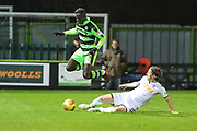Swansea City's Aaron Lewis tackles Forest Green Rovers Toni Gomes(25) during the EFL Trophy match between Forest Green Rovers and U21 Swansea City at the New Lawn, Forest Green, United Kingdom on 31 October 2017. Photo by Shane Healey.