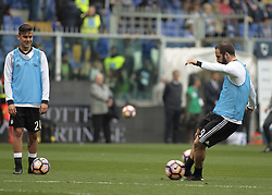 March 19, 2017 - Genoa, Italy - Paulo Dybala and Gonzalo Higuain during warm up Serie A match between Sampdoria v Juventus, in Genova, on March 19, 2017  (Credit Image: © Loris Roselli/NurPhoto via ZUMA Press)