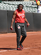 Sep 15, 2019; Oakland, CA, USA; Kansas City Chiefs running back LeSean McCoy (25) warms up before the game against the Oakland Raiders at Oakland-Alameda County Coliseum. The Chiefs defeated the Raiders 28-10.