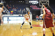 """Mississippi Lady Rebels guard A'Queen Hayes (3) vs. Alabama at the C.M. """"Tad"""" Smith Coliseum in Oxford, Miss. on Sunday, January 11, 2015. (AP Photo/Oxford Eagle, Bruce Newman)"""