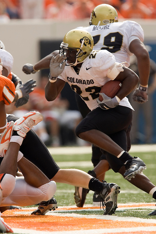 Colorado Buffaloes running back Byron Ellis runs with the ball during a 34 to 0 win over the Oklahoma State Cowboys on October 1, 2005 at Boone Pickens Stadium in Stillwater, Oklahoma.