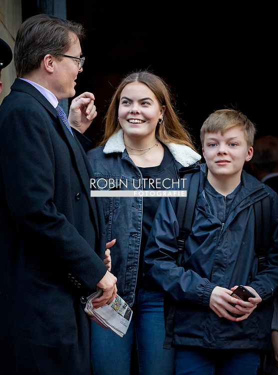 3-2-2018 AMSTERDAM -  Prince Constantijn, Princess Laurentien, Countess Eloise, Count Claus-Casimir and Countess Leonore  arrives at the Royal Palace on Dam Square for the birthday reception of Princess Beatrix. The princess celebrates her 80th birthday in private. ROBIN UTRECHT
