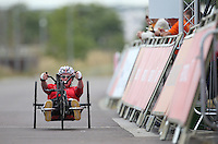 LONDON UK 29TH JULY 2016:  Jen Warren (GBR). Prudential RideLondon Handcycle Grand Prix at the London Velo Park. Prudential RideLondon in London 29th July 2016<br /> <br /> Photo: Jed Leicester/Silverhub for Prudential RideLondon<br /> <br /> Prudential RideLondon is the world&rsquo;s greatest festival of cycling, involving 95,000+ cyclists &ndash; from Olympic champions to a free family fun ride - riding in events over closed roads in London and Surrey over the weekend of 29th to 31st July 2016. <br /> <br /> See www.PrudentialRideLondon.co.uk for more.<br /> <br /> For further information: media@londonmarathonevents.co.uk