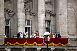 29 April 2011. London, England..Royal wedding day. William and Kate. The royal family take to the balcony  at Buckingham palace to acknowledge the adoring crowd..Photo; Charlie Varley.