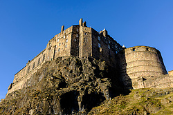 View of Edinburgh Castle on blue sky winer day in Scotland