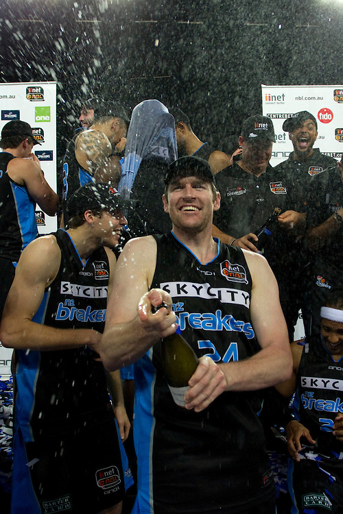 Breakers' Dillon Boucher celebrates with champagne defeating the Wildcats in the 3rd and deciding grand final match of the ANBL Basketball Championship, Vector Arena, Auckland, New Zealand, Tuesday, April 24, 2012.  Credit:SNPA / David Rowland