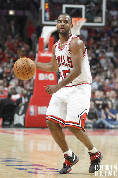 14 March 2012: Chicago Bulls point guard John Lucas III (15) looks to pass the ball during the Chicago Bulls 106-102 victory over the Miami Heat at the United Center, Chicago, Illinois, USA.