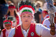 23 JANUARY 2011 - PHOENIX, AZ:  Mexican Catholic Matachine dancers perform during the March for Life through Phoenix, AZ, Sunday. About 500 people participated in the pro-life march and rally, which marked the 38th anniversary of the US Supreme Court's Roe vs. Wade decision, which legalized abortion in the United States.      PHOTO BY JACK KURTZ