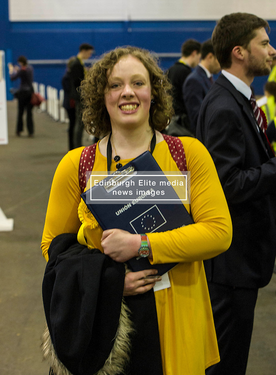 Pictured: Lib Dem candidate Hannah Bettsworth at her forst time up for election was excited as the count progressed.<br /> <br /> The count has started for the Edinburgh Count as part of the Scottish Election 2016. A long night is anticipated with results predicted to start being announced around 7 AM<br /> <br /> <br /> <br /> Ger Harley | EEm 5 May 2016