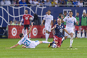 CHICAGO, IL - AUGUST 02: Real Madrid forward Borja Mayoral (21) and MLS All-Star and Toronto FC Midfielder Michael Bradley (4) battle for a ball on the ground in the first half during a soccer match between the MLS All-Stars and Real Madrid on August 02, 2017, at Soldier Field in Chicago, IL. (Photo By Daniel Bartel/Icon Sportswire)