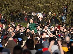 The ball is thrown into the hug - Mandatory byline: Robbie Stephenson/JMP - 09/02/2016 - FOOTBALL -  - Ashbourne, England - Up'Ards v Down'Ards - Royal Shrovetide Football