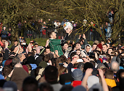 The ball is thrown into the hug - Mandatory byline: Robbie Stephenson/JMP - 09/02/2016 - FOOTBALL -  - Ashbourne, England - Up'Ards v Down'Ards - Royal Shrovetide Football