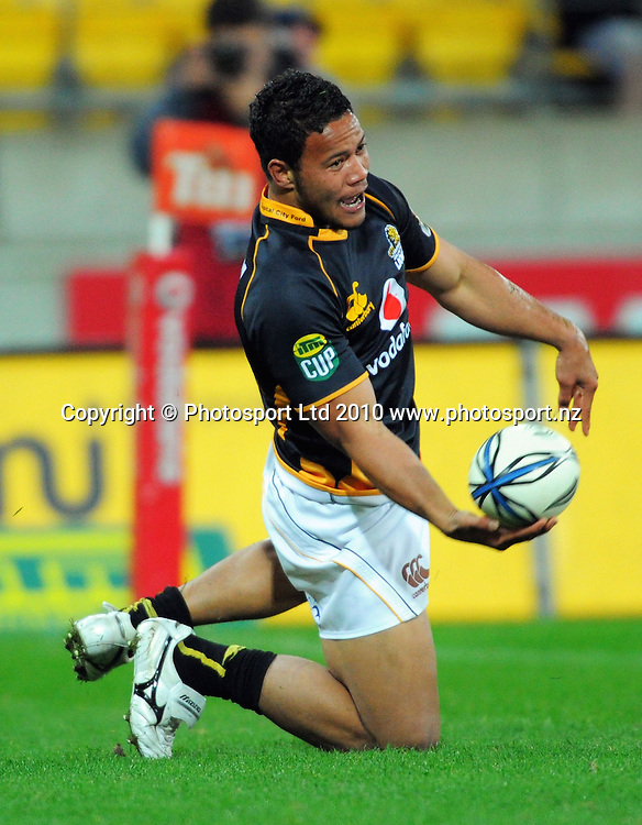 Alapati Leiua celebrates scoring an intercept try before it was disallowed, as play was brought back for an earlier infringement. ITM Cup rugby union - Wellington Lions v Waikato at Westpac Stadium, Wellington, New Zealand on Saturday, 21 August 2010. Photo: Dave Lintott/PHOTOSPORT