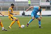 Joss Labadie and Chris Hussey during the EFL Sky Bet League 2 match between Newport County and Cheltenham Town at Rodney Parade, Newport, Wales on 1 January 2020.