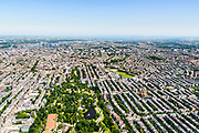 Nederland, Noord-Holland, Amsterdam, 29-06-2018; Amsterdam Oud-Zuid, Vondelbuurt, Museumkwartier, Vondelpark, Museumplein. Overzicht richting grachtengordel en binnenstad.<br /> <br /> luchtfoto (toeslag op standard tarieven);<br /> aerial photo (additional fee required);<br /> copyright foto/photo Siebe Swart