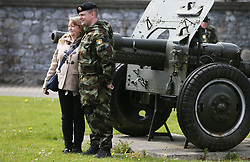 Cpl Aidan Galligan, from Cavan, with his mother Olive, at Custume Barracks, Athlone, following a review of the 110th Infantry Battalion ahead of their six-month deployment to South Lebanon as part of United Nations Interim Force in Lebanon (Unifil).