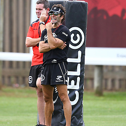 DURBAN, SOUTH AFRICA - : Sean Everitt (Assistant Coach)  with Paul Anthony (Assistant Coach) during the Cell C Sharks training session at Growthpoint Kings Park on March 04, Durban, South Africa. (Photo by Steve Haag)