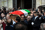 Roma 5 Novembre 2012.Il l feretro di Pino Rauti fuori dalla basilica di San Marco a Piazza Venezia..The  the coffin of Pino Rauti out from the Basilica of San Marco in Venice Piazza