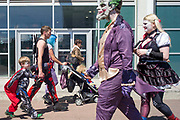 UNITED KINGDOM, London: 27-28 May 2017 Cosplay fans dressed as a number of different characters walk past each other at this years MCM London Comic Con. <br /> The comic convention, which will be visited by tens of thousands of comic book and cosplay fans, is being held at London's ExCel this weekend. Rick Findler / Story Picture Agency