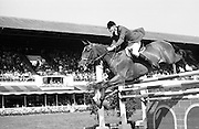 "09/08/1967<br /> 08/09/1967<br /> 09 August 1967<br /> R.D.S. Horse Show, Ballsbridge, Dublin. Image shows John Kidd on ""Bali Ha'i 2"" (Great Britain), jumping in the John Higgins Memorial Perpetual Challenge Trophy International competition."