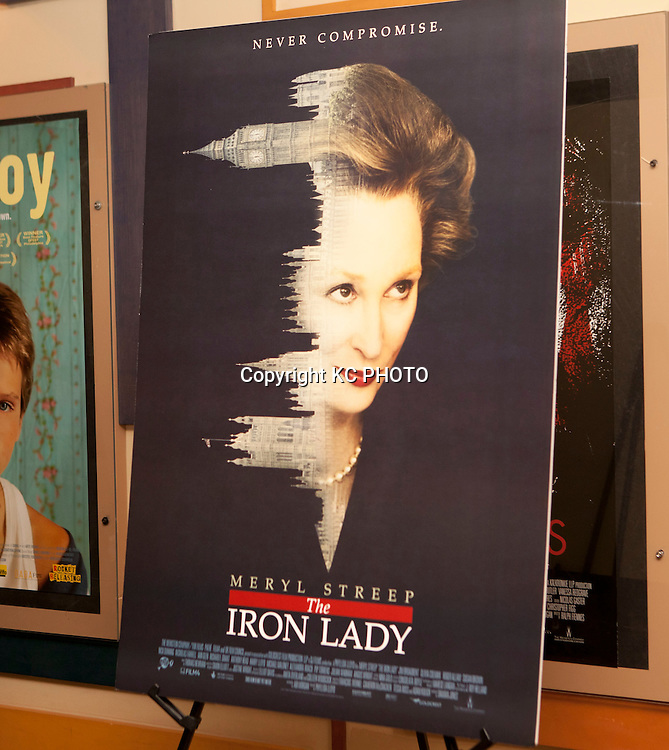 "A view of a poster of ""The Iron Lady,"" movie at E Street Cinema on November 29, 2011 in Washington DC. Photo by Graeme Jennings/KC PHOTO"