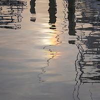 Frisco Harbor reflecting evening light, Frisco, NC