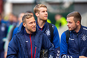 Scott Arfield (#37)(left) of Rangers FC arrives for the Ladbrokes Scottish Premiership match between Heart of Midlothian and Rangers FC at Tynecastle Park, Edinburgh, Scotland on 20 October 2019.
