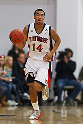 Jan 9, 2012; Moraga CA, USA;  St. Mary's Gaels guard Stephen Holt (14) dribbles the ball against the San Francisco Dons during the first half at McKeon Pavilion.  St. Mary's defeated San Francisco 87-72. Mandatory Credit: Jason O. Watson-US PRESSWIRE
