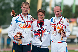 Podium, BLAKE Paul, AREFYEV Artem, KHARAGEZOV Pavel, RUS, GBR, 800m, T36, Podium, 2013 IPC Athletics World Championships, Lyon, France