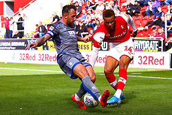 Neal Eardley of Lincoln City blocks a cross from Carlton Morris of Rotherham United - Mandatory by-line: Ryan Crockett/JMP - 10/08/2019 - FOOTBALL - Aesseal New York Stadium - Rotherham, England - Rotherham United v Lincoln City - Sky Bet League One