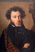 Portrait of A.S.Pushkin by Orest Kiprensky (1827) Painting on display at the State Tretyakov Gallery (GTG) an art gallery in Moscow, Russia, the foremost depository of Russian fine art in the world.