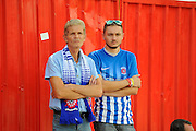 Hardy Hartlepool fans who travelled to Exeter for the EFL Sky Bet League 2 match between Exeter City and Hartlepool United at St James' Park, Exeter, England on 13 August 2016. Photo by Graham Hunt.