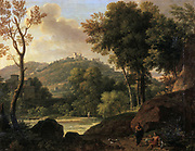 Environs of Florence', painting by Francois Xavier, Baron Fabre (1766-1837), French artist. Stream running wooded lanscape through landscape with hills and villas. Figures with dogs in rocky foreground.