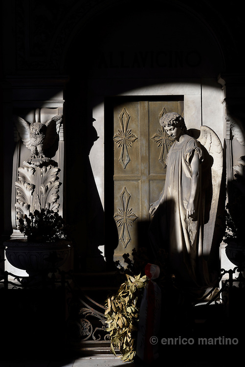 Genoa.  The Cimitero monumentale di Staglieno is famous for its monumental sculpture. Tomba Pallavicino by A. Rivalta1869. Covering an area of more than a square kilometre, it is one of the largest cemeteries in Europe.