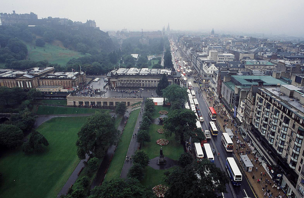 A look down Princes Street, Edinburgh, Scotland.