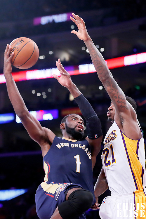 07 December 2014: New Orleans Pelicans forward Tyreke Evans (1) goes for the layup over Los Angeles Lakers forward Ed Davis (21) during the New Orleans Pelicans 104-87 victory over the Los Angeles Lakers, at the Staples Center, Los Angeles, California, USA.