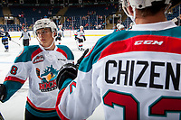 KELOWNA, CANADA - SEPTEMBER 2: Right wing Leif Mattson #28 of the Kelowna Rockets celebrates a second period goal against the Victoria Royals on September 2, 2017 at Prospera Place in Kelowna, British Columbia, Canada.  (Photo by Marissa Baecker/Shoot the Breeze)  *** Local Caption ***