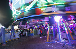 May 27, 2019 - Bogor, Indonesia - Visitors seen riding the attraction of ''Ombak Banyu'' at the Ramadan night market in Bogor, West Java, Indonesia, on May 27, 2019. The evening entertainment was held in order to entertain residents in the Holy Month of Ramadan. (Credit Image: © Adriana Adie/NurPhoto via ZUMA Press)
