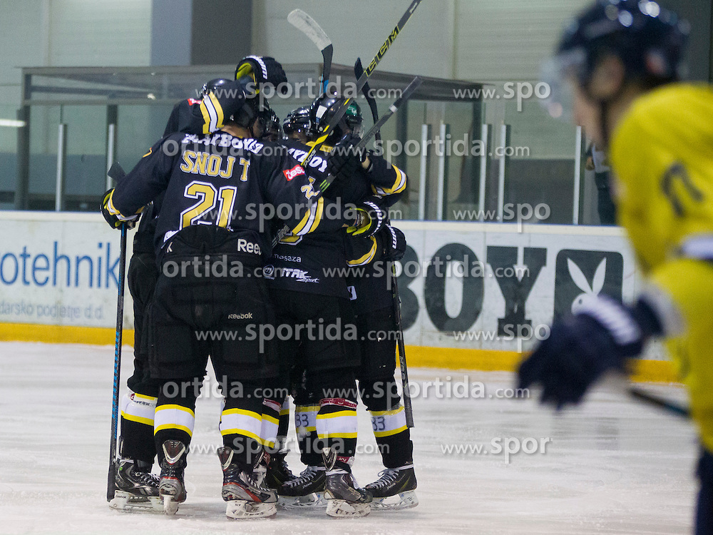 Players of HK Playboy Slavija celebrate during Inter National League ice hockey match between HK Playboy Slavija and HK ECE Celje, on September 30, 2015, in Ledena Dvorana Zalog, Ljubljana, Slovenia. Photo by Urban Urbanc / Sportida