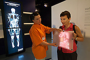 "Linz, Cultural Capital of Europe 2009. Ars Electronica Center. Level -3: Main Gallery. New Views of Humankind. BrainLab. Holoman: Step in front of the mirror and discover the fascination of the human body! Human anatomy has always fascinated artists no less than physicians. Anatomical representations from different historical epochs let us see how knowledge of the body has changed over the course of time. ""Holoman"" is a modern magical mirror that gives us a glimpse inside the body."