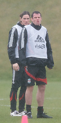 LIVERPOOL, ENGLAND - Friday, March 28, 2008: Liverpool's Jamie Carragher and Fernando Torres training at Melwood ahead of the Merseyside Derby match against Everton. (Photo by David Rawcliffe/Propaganda)